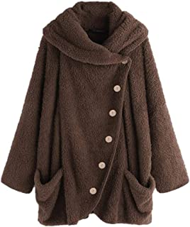 COPPEN Women Coats Vintage Turtleneck Side Button Down Fluffy Sweater Big Pockets Solid Warm Cloak Coats Oversize