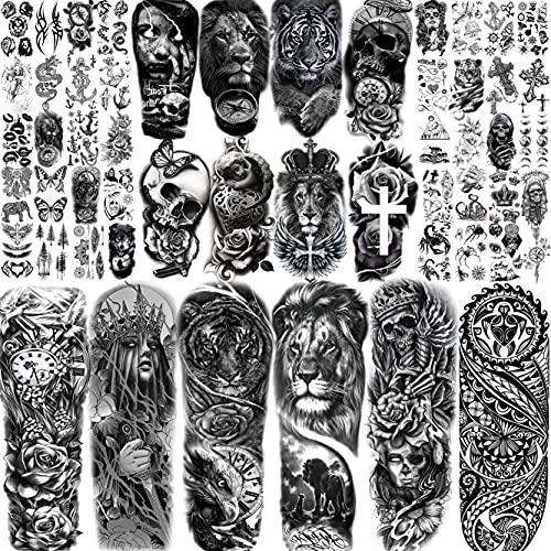 Moheer 54 Blätt Lang Groß Voll Arm Temporäre Tattoos Ärmel Männer Frauen Gruselig Löwe Tiger Schädel Skelett Fake Tattoo Erwachsene Realistische Temporary Ärmel Tattoos Zum Aufkleben Auf Die Haut Bein