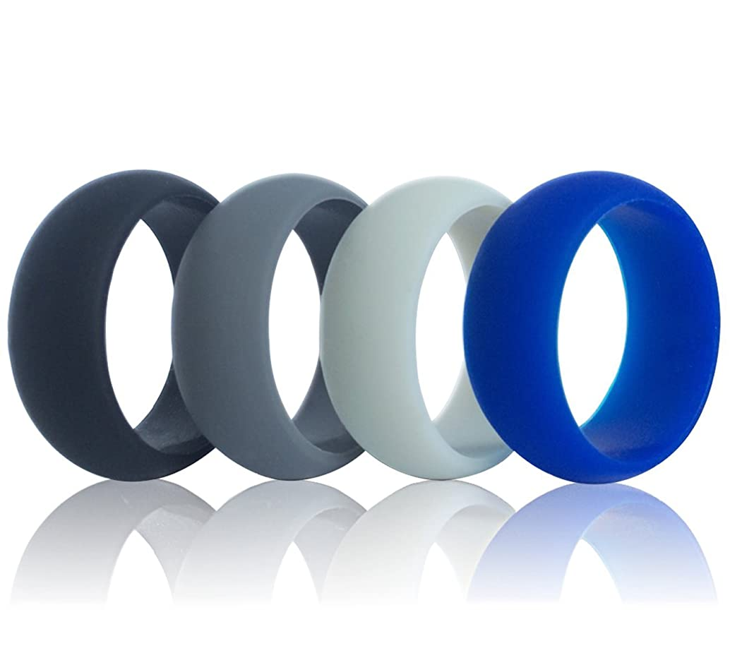DoerDo Men Silicone Wedding Ring, Rubber Sport Band, Designed for Souvenir and Wearing Comfortably to Taking Exercise - 4 Rings Pack(Black, Grey, Light Grey, Blue)
