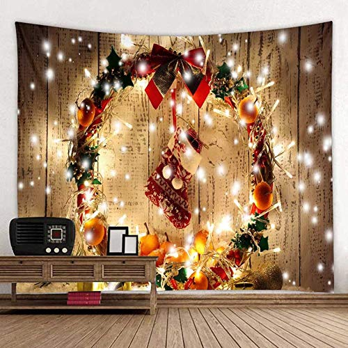 MMHJS Christmas European-Style Simple Snow Scene Elk Decorative Cloth Printed Solid Color Background Cloth Tapestry Bedroom Living Room Party Holiday Tapestry