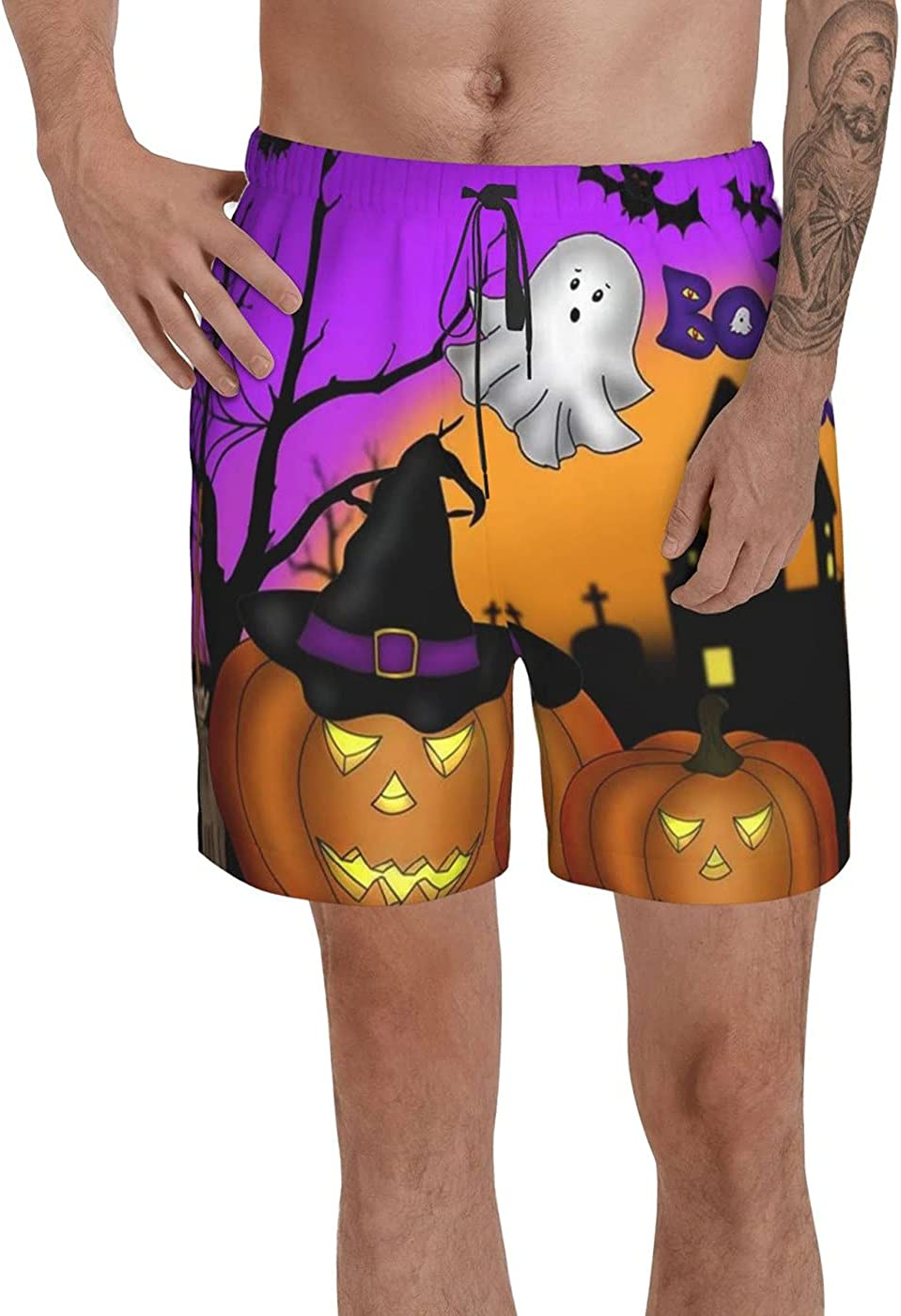 count Halloween Men's 3D Printed Funny Summer Quick Dry Swim Short Board Shorts with