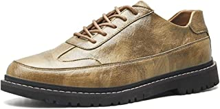 KUANGMENG Popular Classic Oxford for Men Casual Loafers Fashion Comfortable Lace Up Flats Shoes Microfiber Upper Round Toe Abrasion Resistant Athletic & Outdoor Shoes (Color : Green, Size : 7.5 UK)