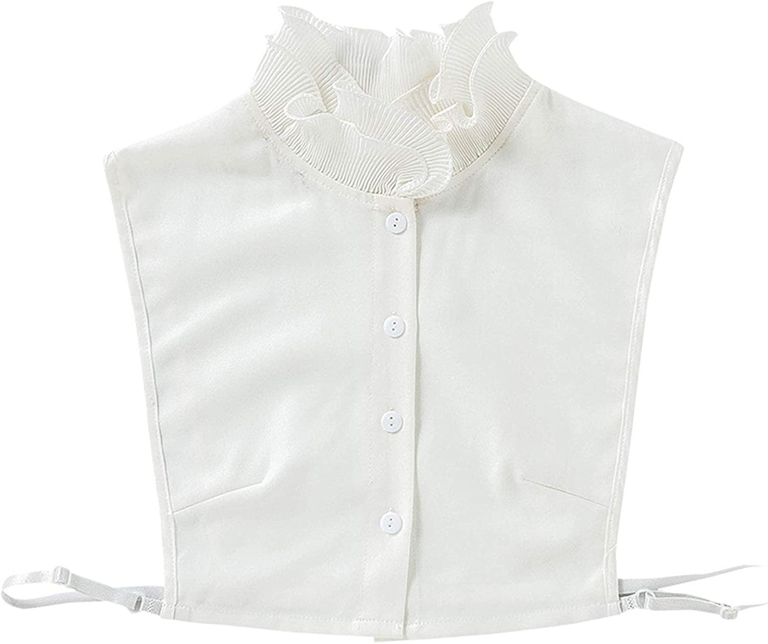 YOUSIKE Detachable Blouse, Women Double Layer Ruffled Stand False Fake Collar Button Down Chiffon Solid Color Elegant Detachable Half Shirt Blouse Dickey Sweater Decorative Vest