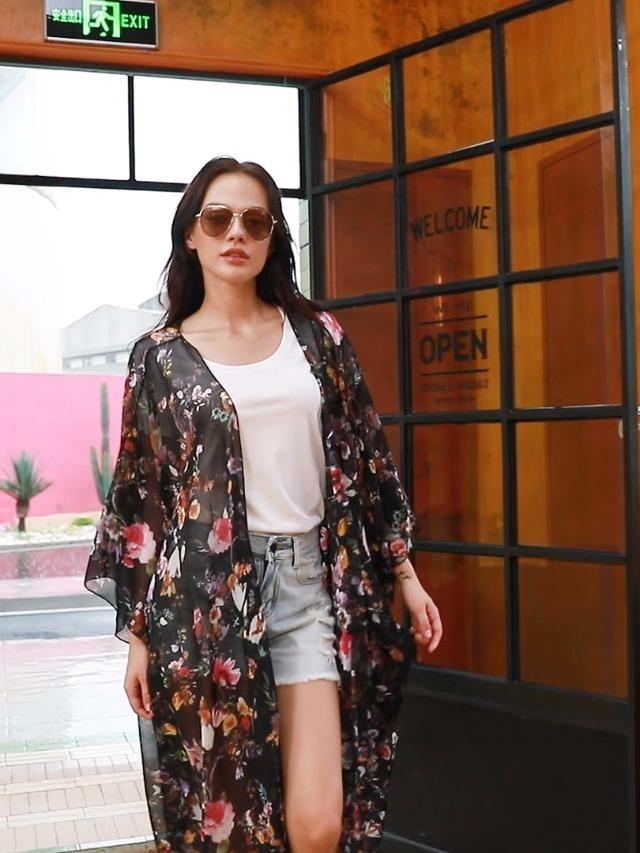 Hibluco Women's Casual Cover Ups Printed Kimono Cardigan Sheer Tops Loose Blouse