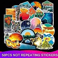 50ピース/パック防水美しい風景ステッカースケートボード荷物スーツケースオートバイラップトップデカールステッカー子供クラシックおもちゃ