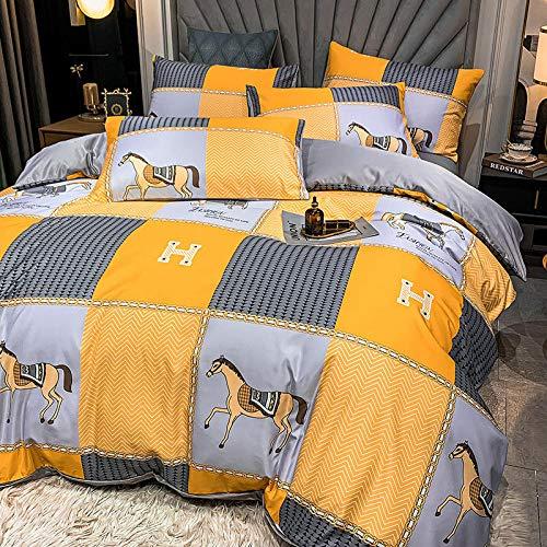 Exlcellexngce Funda Nordica Cama 90,60 Ropa de Cama de Seda, una Variedad de Colores Hermosos edredones Suaves y cómodos, adecuados para Habitaciones de Dormitorio.-F_1,8 m de Cama (4pcs)