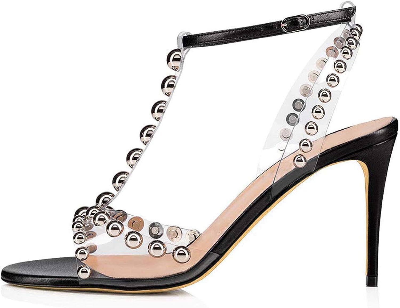 High Heels, Women's Sandals - Women's Metal Studded Sandals - PVC - Large Size Buckle - Open Toe - Dew Heel - Thin high Heel Sandals (Heel Height  8cm),Black,41