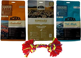 ACANA Dry Dog Food Kibble 3 Flavor Sampler with Rope Toy Bundle, 1 Each: Meadowland Poultry Fish, Singles Duck Pear, Wild Atlantic Fish (12 Ounces)
