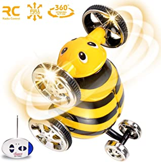 PBOX Remote Control Car for Boys,Stunt Car Cartoon Bee 360° Spin Rolling Vehicles,Toddler RC Car Toys for Aged 3-12 Year Old Boys & Girls Best Gift