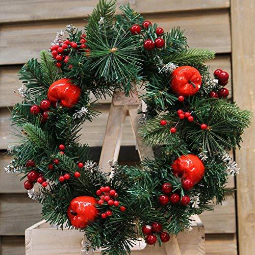 HFBHFC kerstkrans met rode appel en bessen decoratieve opknoping krans voor vakantie voordeur muur raamdecoratie