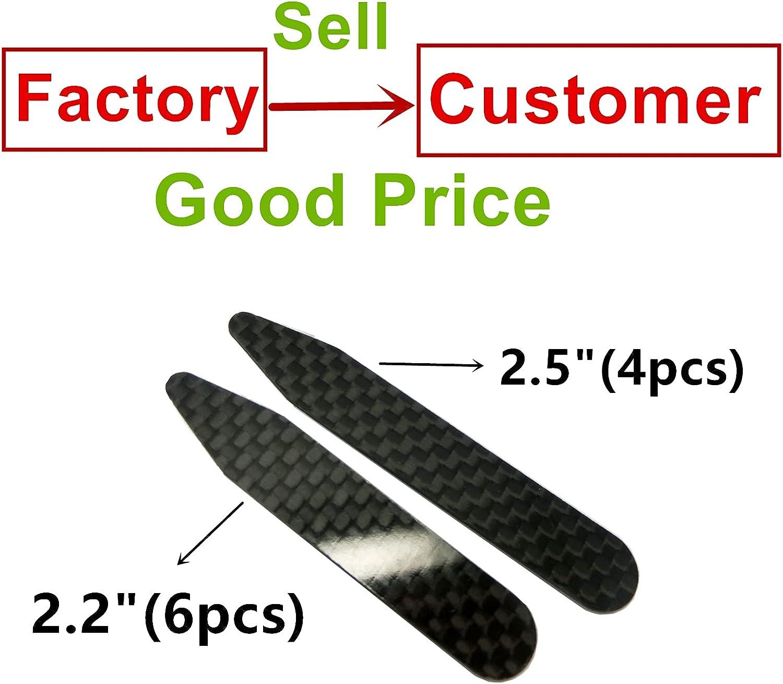Lary Real Carbon Fiber Collar Stays 10 Pcs Set in Glass Bottle
