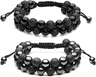 Top Plaza Men Women 8mm Lava Rock Stone Aromatherapy Essential Oil Diffuser Bracelet Braided Rope Natural Stone Yoga Beads...