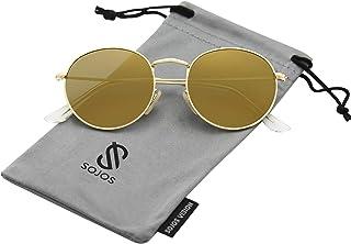 SOJOS Small Round Polarized Sunglasses Mirrored Lens...