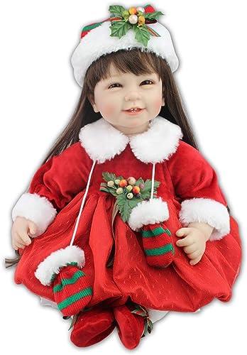 IIWOJ Reborn Doll 55Cm Long Hair Soft Silicone Girl Christmas Doll Gift