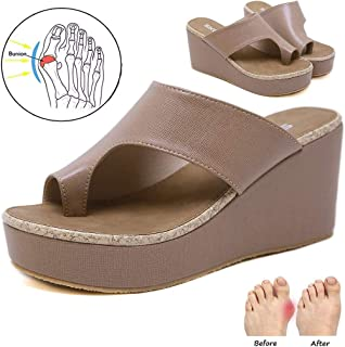 Women Flat Sandals Bunion Sandals Big Toe Correction Sandals with Arch Support Foot Orthopedic Bunion Corrector Orthotic Sandals Fashion Flip-Flops Slippers wedge Shoe,Flesh,39 EU