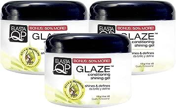 Elasta QP Glaze Maximum Hold Conditioning Shining Gel (3 Pack) - Shines & Defines, Leaves No Product Build-Up, Conditioning & Shining Gel, Controls Frizz, Adds Shine, Smooths Edges, 6 oz
