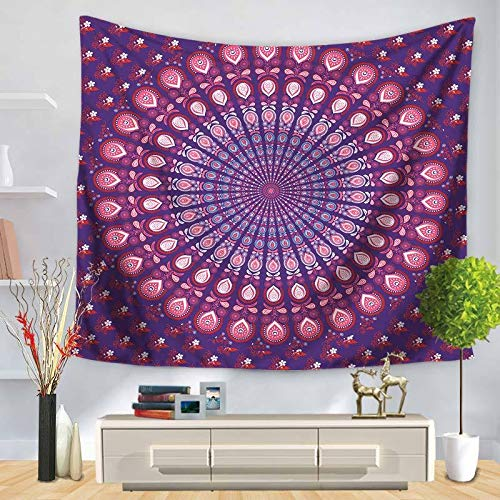 Tapiz de pared Mandala de la Gran India Tapestry Mandala Hippie Tapiz Bohemio Pared Tapiz Para Sala de Estar Dormitorio Decoración Yoga Alfombrilla Toalla Playa Gemelo Colcha, Polyester,180x250cm