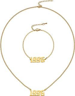 Hicarer Birth Year Number Necklace Bracelet, 1996 Number Pendant Necklace Bracelet Birthday Gift for Women and Girl Adjust...