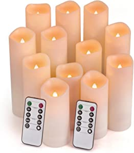 "Comenzar Flameless Candles, Led Candles Set of 12(H 4"" 5"" 6"" 7"" x D 2.1"") Outdoor Indoor Candles with Remote Timer (Made of Plastic)"