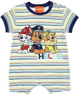 Babybogi Paw Patrol Baby Strampler | Größe 62 68 80 | Strampler für Jungen gestreift | Baby Schlafanzug Kurzarm ohne Füßchen