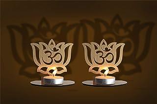 Om Lotus Diwali Shadow Diya Tea Light Holder set of 2 for Home / Office. TeaLight Tlight Candle Holder Stand. Diwali & Fes...