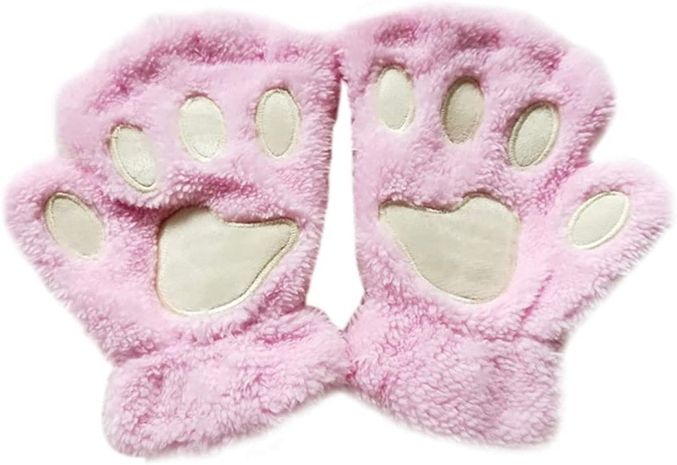 XISAOK Women Indefinitely Girls Lovely Cat Paw Fingerless Clearance SALE Limited time Claw Thick Glo Half
