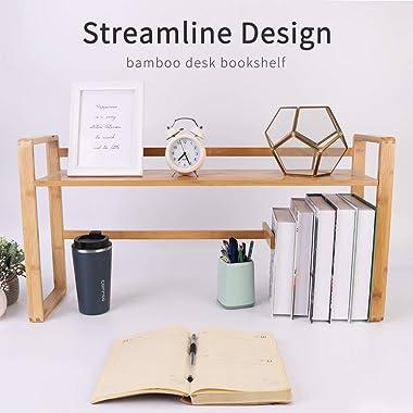 UNHO Bamboo Desk Storage Organiser, Desktop Shelves 2 Tier Bookcase Display Shelf Rack Table Shelf Book Organiser for Office
