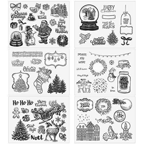 6 Pieces Christmas Theme Clear Stamps Silicone Decorative Stamp Transparent Stamp for Cards Making DIY Scrapbook Photo Album Supplies 8.07 x 6.5 Inches