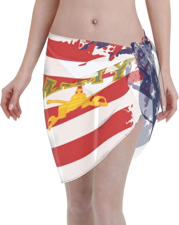 Army Armor Branch Insignia Military Veteran Women Short Sarongs Beach Wrap Bathing Suits Cover Ups Sheer Short Skirt Bikini Chiffon Scarf Black