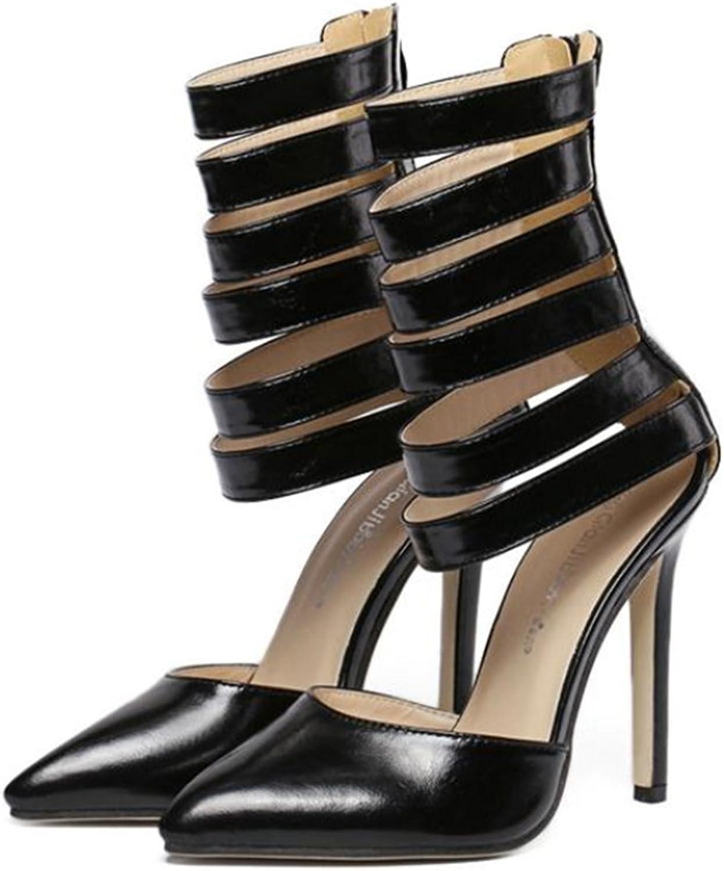 Roman Style Pointed High Heel Sandals black 36