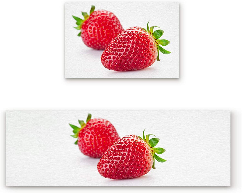 KAROLA 2 Piece Non-Slip Kitchen Mat Doormat Runner Rug Set Thin Low Pile Indoor Area Rugs Strawberry Fruit Pattern 19.7 x31.5 +19.7 x47.2