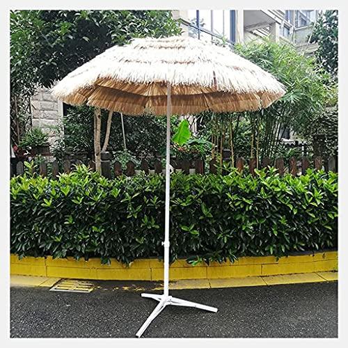 Bktmen Parasol de Paja con Base, 180 cm Jardín Hawaiano Parasol Protección Solar Tilt, Patio al Aire Libre Parasol Hawaiian para Patio de Piscina Round Garden
