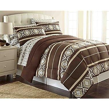 Thermee Micro Flannel Comforter Set, King, Reindeer Fantasy