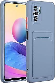 Ffish Wallet Case for Xiaomi Redmi Note 10 5G + حامل هاتف خلوي، مع فتحة بطاقة حماية فائقة النحافة وخفيفة من TPU ، لافندر غراي