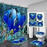 MissLi 3D Ocean Design Dolphin Tela Impermeable Cortina De Baño Cortinas De Ducha Set Alfombras Antideslizantes Cubierta De La Tapa del Inodoro Alfombra De Baño (Color : 3)