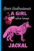 Never Underestimate A Girl Who Loves Jackal: Cute Wide Ruled Notebook. Pretty Lined Journal & Diary for Writing & Note Tak...