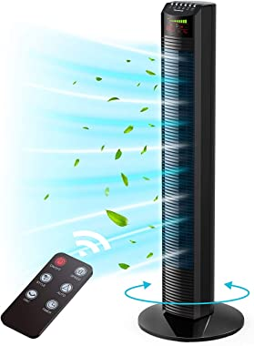 Tower Fan, Homech Whole Room Wind Curve Auto Oscillating Tower Fan with Remote, Quiet Cooling, 3 Modes, 3 Speeds, up to 12H T