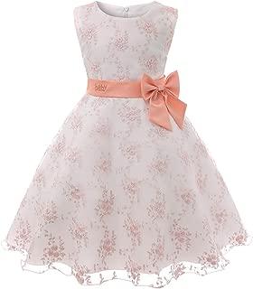 YAKEE LEMON Lace Dress for Girls Party Flower Girls Dress Knee Length Princess Dress