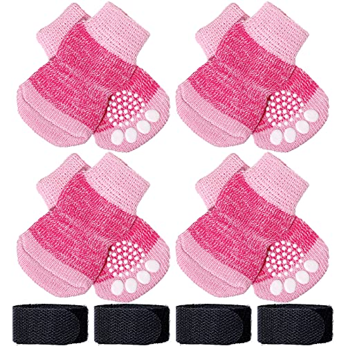 Frienda 8 Pieces Pet Knit Socks Anti-Slip Dog Cat Socks Adjustable Paw Protector for Small Puppies and Kittens Traction Control (S, Pink)