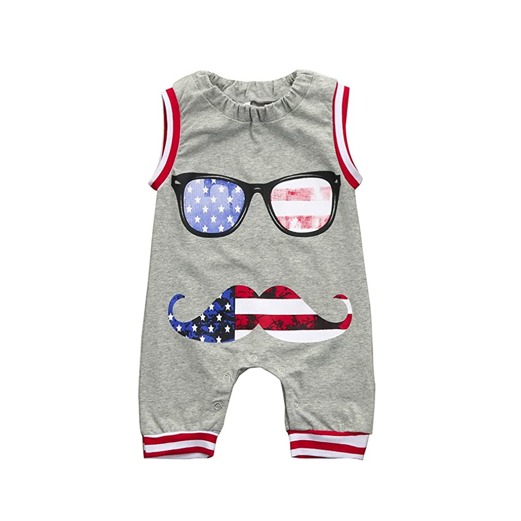 HANANei Newborn Toddler Baby Boy Kids US Flag Printing Romper Jumpsuit Glasses Clothes Outfits for 4th of July