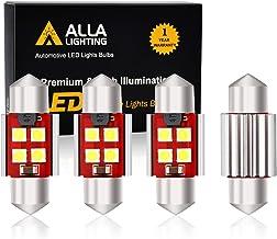 "Alla Lighting 800 Lumens DE3175 DE3021 DE3022 LED Bulb CAN BUS Xtreme Super Bright 6000K Xenon White 31mm(1.25"") 3030 SMD Interior Festoon Dome/Map/Trunk/Glove Box/Door Lights Replacement(Pack of 4)"