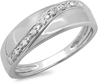 Dazzlingrock Collection 0.10 Carat (ctw) Round Diamond Men's 7 Stone Stackable Anniversary Wedding Band 1/10 CT, Sterling ...