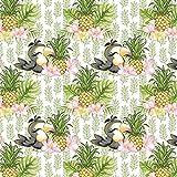 Pingianer 11,99€/m 100x160cm Tukan Ananas Weiß 100%