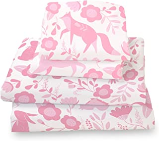 Where The Polka Dots Roam Twin Sheet Set Pink Folk Animals for Kids Bedding Microfiber Bedding Set
