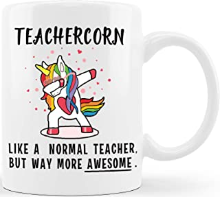 Teachercorn Unicorn Teacher Gifts Funny Novelty Coffee Cups for Teachers Appreciation Gifts for Men Women Assistant Educat...