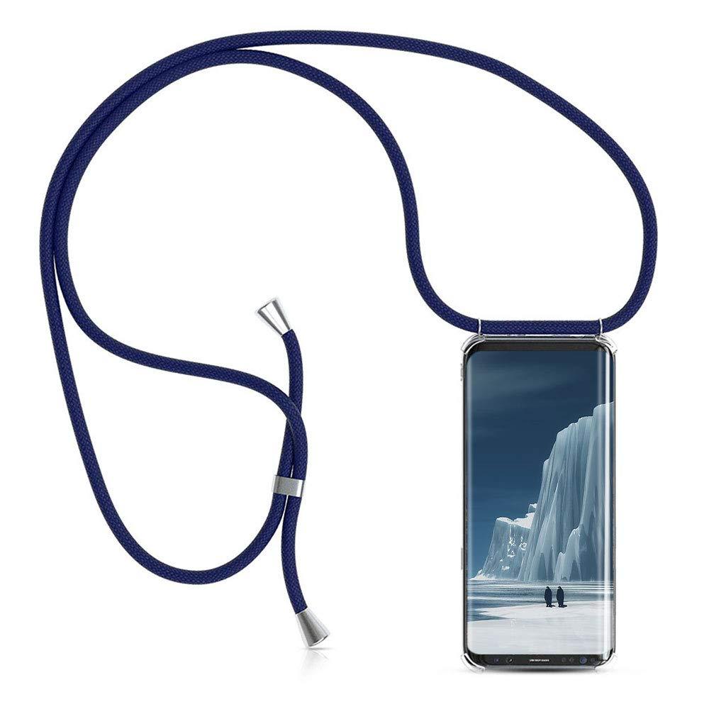 Carcasa de movil con Cuerda para Colgar Samsung Galaxy S9 -Funda para iPhone/Samsung/Huawei con Correa Colgante para Llevar en el Cuello -Hecho a Mano en Berlin[Transparente TPU Case/Azul oscuro]: Amazon.es: Electrónica