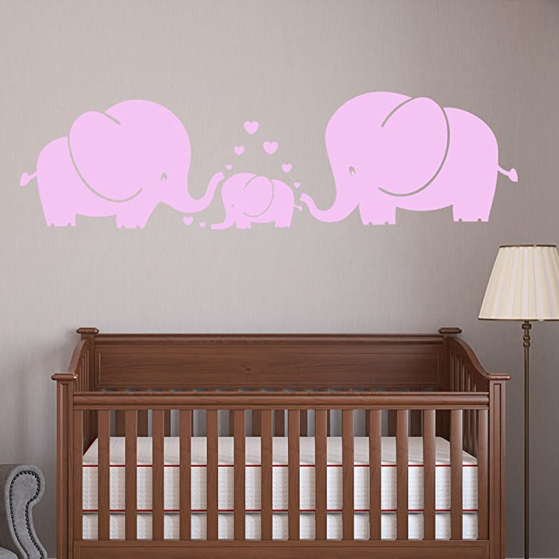 MAFENT TM Three Cute Elephants Parents And Kid Family Wall Decal With Hearts Wall Decals Baby Nursery Decor Kids Room Wall Stickers Pink
