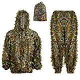 Ghillie Suit 3D Leafy Hooded Camouflage Clothing Outdoor Woodland Hunting Suit Sniper Costume