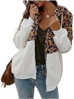 neveraway Women's Leopard Sherpa Lined Splice Fall Winter Blouse Cardigan