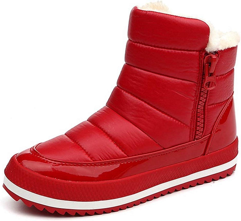 Fashion shoesbox Women's Winter Ankle Snow Boots Waterproof Warm Fur Side Zip High Top Slip On Platform Outdoor Snow Boots
